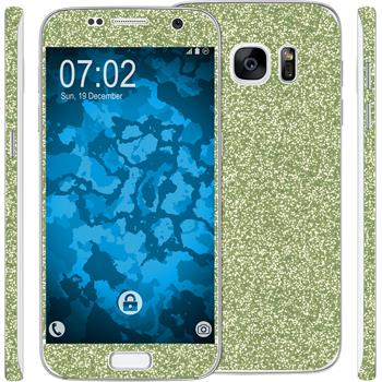 2 x Glitter foil set for Samsung Galaxy S7 green protection film