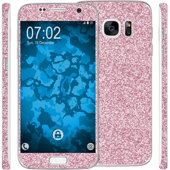 2 x Glitter foil set for Samsung Galaxy S7 pink protection film