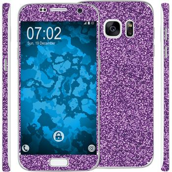 2 x Glitter foil set for Samsung Galaxy S7 purple protection film