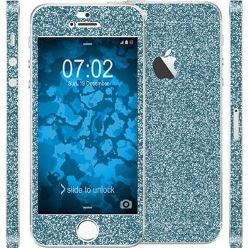 2 x Glitzer-Folienset für Apple iPhone 5 / 5s / SE blau
