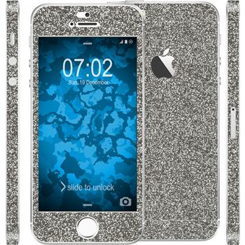 2 x Glitzer-Folienset für Apple iPhone 5 / 5s / SE grau