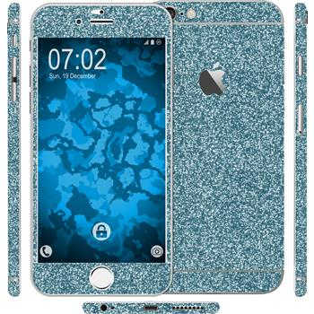 2 x Glitzer-Folienset für Apple iPhone 6 Plus / 6s Plus blau