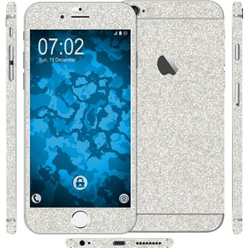 2 x Glitzer-Folienset für Apple iPhone 6 Plus / 6s Plus silber