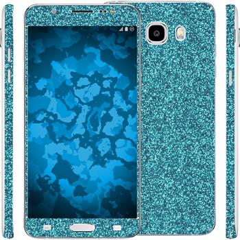 2 x Glitzer-Folienset für Samsung Galaxy J5 (2016) J510 blau