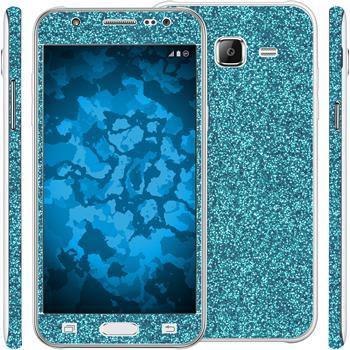 2 x Glitzer-Folienset für Samsung Galaxy J5 (J500) blau