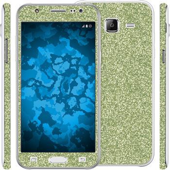 2 x Glitzer-Folienset für Samsung Galaxy J5 (J500) grün