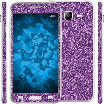 2 x Glitzer-Folienset für Samsung Galaxy J5 (J500) lila