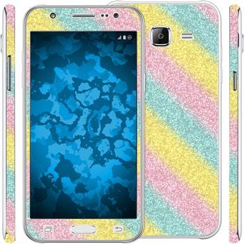 2 x Glitzer-Folienset für Samsung Galaxy J5 (J500) rainbow