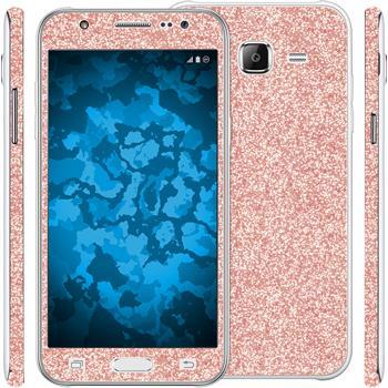2 x Glitzer-Folienset für Samsung Galaxy J5 (J500) Roségold