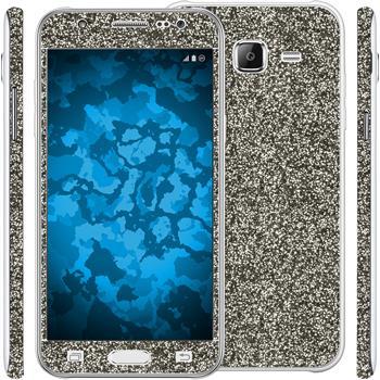 2 x Glitzer-Folienset für Samsung Galaxy J5 (J500) schwarz