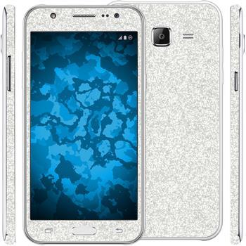 2 x Glitzer-Folienset für Samsung Galaxy J5 (J500) silber