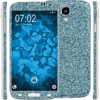 2 x Glitzer-Folienset für Samsung Galaxy S4 blau