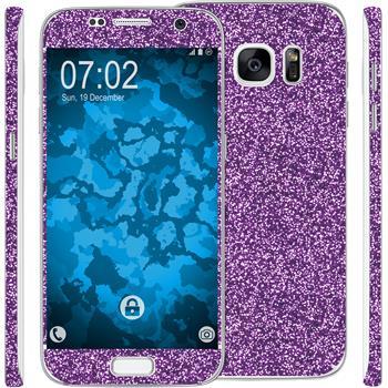 2 x Glitzer-Folienset für Samsung Galaxy S7 lila