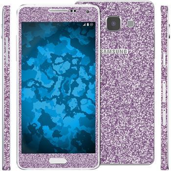 2 x Glitzer-Folienset für Samsung Galaxy A5 (A500) lila