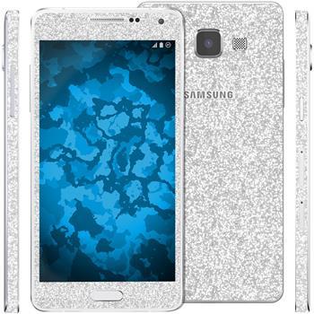 2 x Glitzer-Folienset für Samsung Galaxy A5 (A500) silber