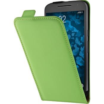 Leather Case for Motorola Moto G4 Plus Flip-Case green + protective foils