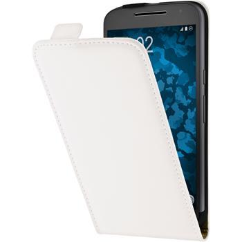 Leather Case for Motorola Moto G4 Plus Flip-Case white + protective foils