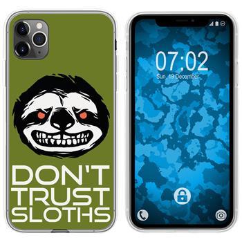 Apple iPhone 11 Pro Silicone Case Crazy Animals sloth M3
