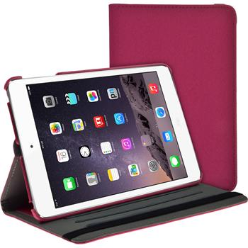 Artificial Leather Case for Apple iPad Mini 3 2 1 360° Denim Look hot pink