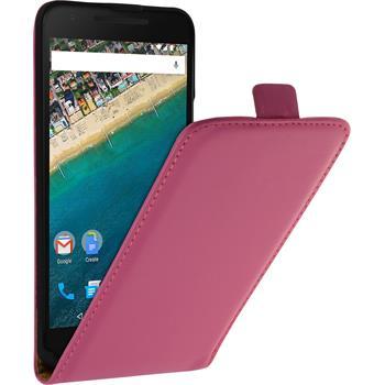 Artificial Leather Case for Google Nexus 5X Flip-Case hot pink
