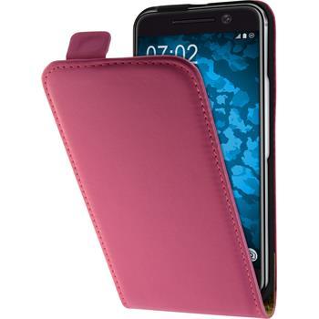 Artificial Leather Case for HTC 10 Flip-Case hot pink + protective foils