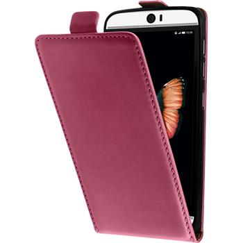 Artificial Leather Case for HTC Butterfly 3 Flip-Case hot pink