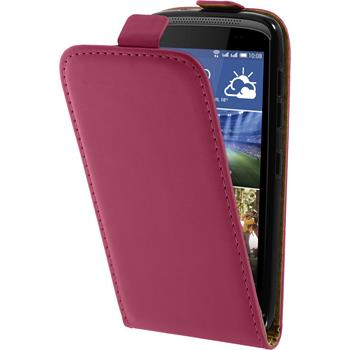 Artificial Leather Case for HTC Desire 326G Flipcase hot pink