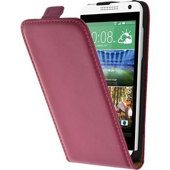 Artificial Leather Case for HTC Desire 610 Flipcase hot pink