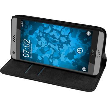 Artificial Leather Case for HTC Desire 630 Bookstyle black + protective foils