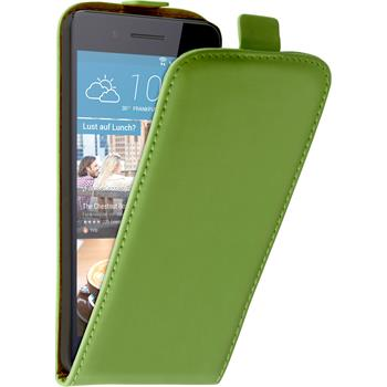 Artificial Leather Case for HTC Desire 728 Flip-Case green