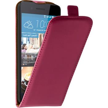 Artificial Leather Case for HTC Desire 728 Flip-Case hot pink