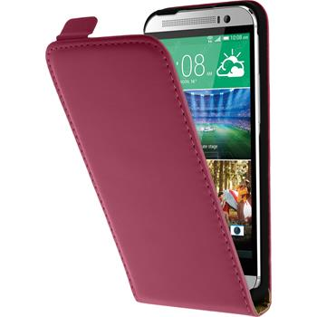 Artificial Leather Case for HTC One E8 Flipcase hot pink