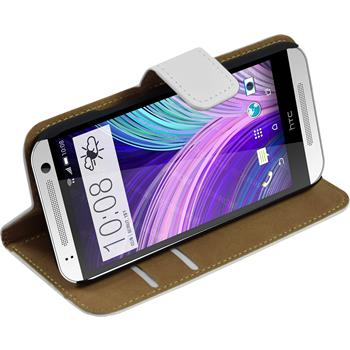 Artificial Leather Case for HTC One Mini 2 Wallet white