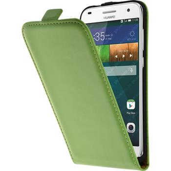 Artificial Leather Case for Huawei Ascend G7 Flipcase green
