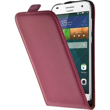 Artificial Leather Case for Huawei Ascend G7 Flipcase hot pink