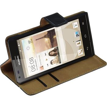 Artificial Leather Case for Huawei Ascend P7 Mini Wallet black