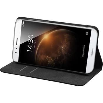 Artificial Leather Case for Huawei G8 Bookstyle black