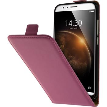 Artificial Leather Case for Huawei G8 Flip-Case hot pink