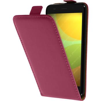Artificial Leather Case for Huawei Honor 4A Flip-Case hot pink