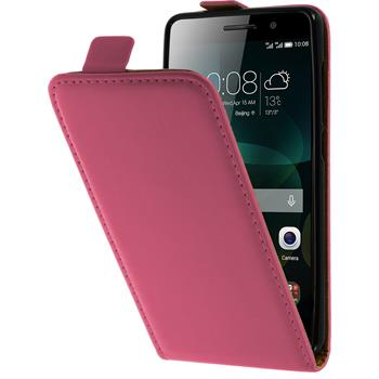 Artificial Leather Case for Huawei Honor 4c Flipcase hot pink