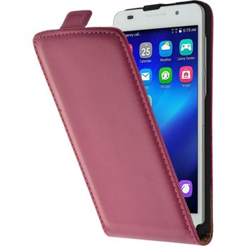 Artificial Leather Case for Huawei Honor 6 Flipcase hot pink
