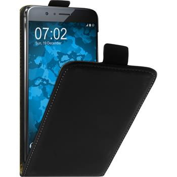 Artificial Leather Case for Huawei Honor 8 Flip-Case black + protective foils