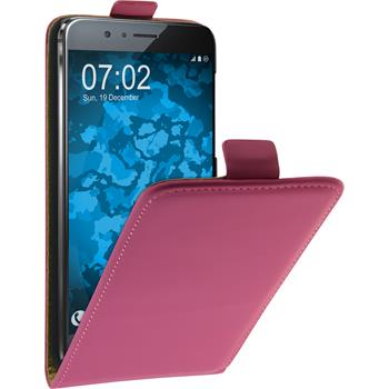 Artificial Leather Case for Huawei Honor 8 Flip-Case hot pink + protective foils