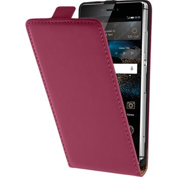Artificial Leather Case for Huawei P8 Flipcase hot pink