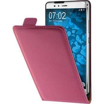 Artificial Leather Case for Huawei P9 Plus Flip-Case hot pink + protective foils