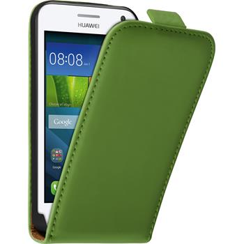 Artificial Leather Case for Huawei Y360 Flip-Case green