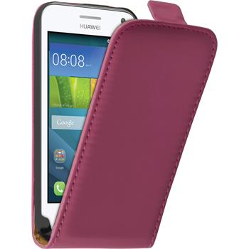 Artificial Leather Case for Huawei Y360 Flip-Case hot pink