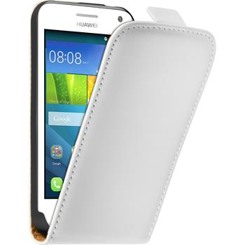 Artificial Leather Case for Huawei Y360 Flip-Case white