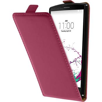 Artificial Leather Case for LG G4s Flip-Case hot pink