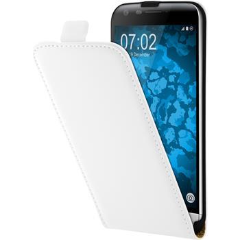 Artificial Leather Case for LG G5 Flip-Case white + protective foils